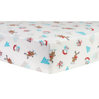 Test Trend Lab Frosty Fun Deluxe Flannel Fitted Crib Sheet, Multi-Colored