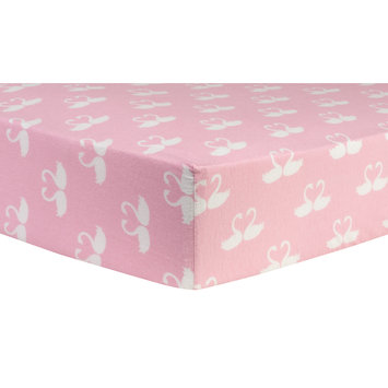 Test Trend Lab Swan Fairy Tale Deluxe Flannel Fitted Crib Sheet, Pink