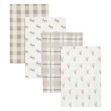 Test Trend Lab Stag and Moose 4 Pack Flannel Blankets, Gray