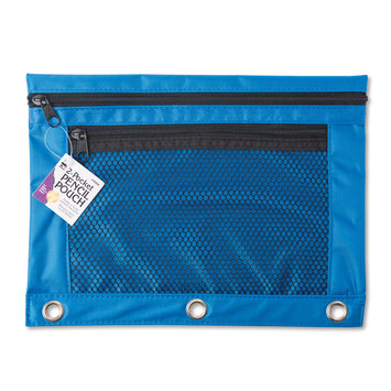 Charles Leonard Nylon 2-Pocket Pencil Pouch, 7 1/2in. x 9 3/4in, Assorted Colors, Pack Of 12