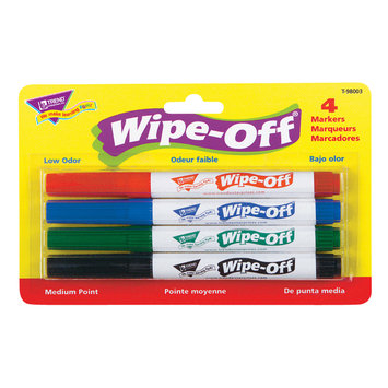 Trend Enterprises Wipe-Off(R) 4-Color Marker Packs, Standard Colors, Pack Of 6