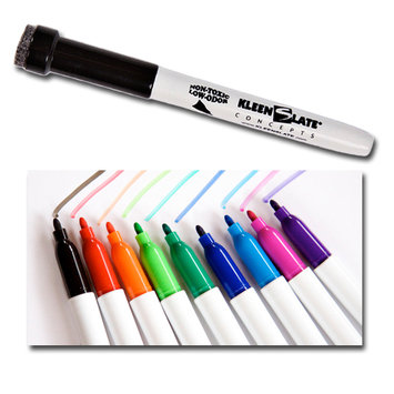 My Three Sons Limited Inc. KleenSlate Dry Erase Markers W/Erasers, Fine Point, Asstd Colors, 10/Pkg, Bundle Of 2, Multi-Color
