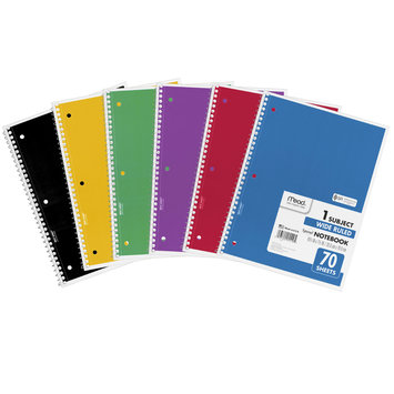 My Three Sons Limited Inc. Mead Spiral 1 Subject Notebook, Wr, 70 Shts, Bundle Of 24, Multi-Color
