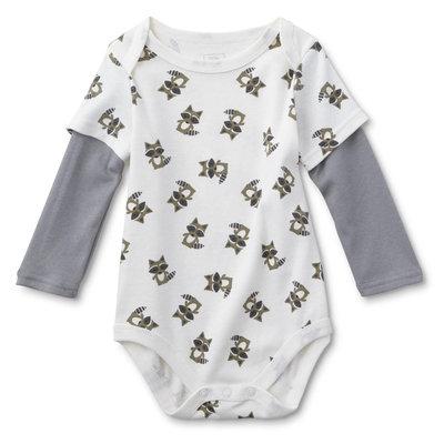 Dyer Development Little Wonders Infant Boys' Long-Sleeve Bodysuit - Raccoons, Size: 9-12 Months, White