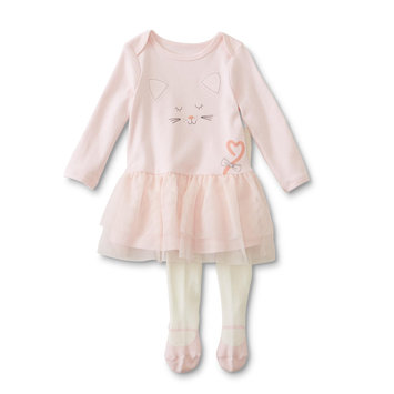 Plymouth Rubber Company, Inc. Little Wonders Infant Girls' Dress & Tights - Cat, Pink