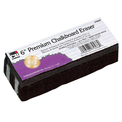 Charles Leonard, Inc. Premium Chalkboard Erasers, 6in. x 2in, Black, Pack Of 12