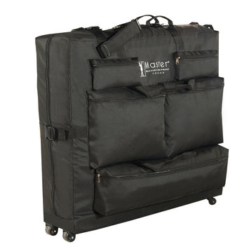 David Shaw Silverware Na Ltd Master Massage Universal Wheeled Table Carry Case Bag with 4 wheels for Massage Table with 5 pockets, Black