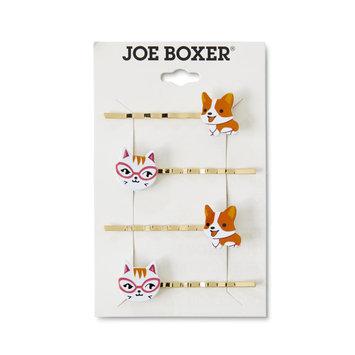 Tanya Creations, Inc. Joe Boxer Women's 4-Pack Goldtone Hair Clips - Cat & Dog