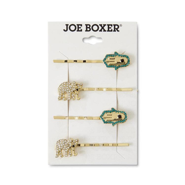 Tanya Creations, Inc. Joe Boxer Women's 4-Pack Goldtone Hair Clips - Elephant & Hamsa