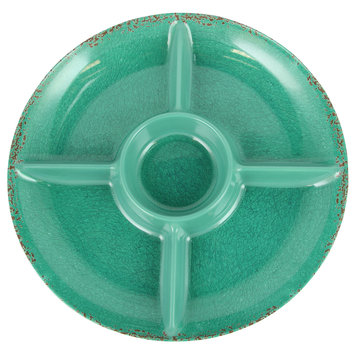 Studio California Mauna 15 in. Green Crackle Decal Section Serving Tray