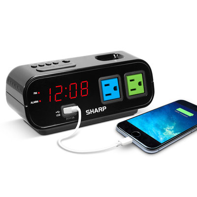 No Sanky Sharp Dbl Outlet Alarm Clock