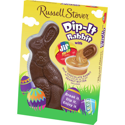 Russell Stover Easter Milk Chocolate Dip-it Rabbit with Peanut Butter 6 oz