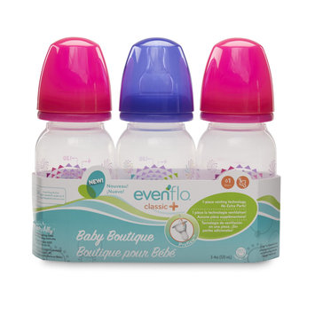 Evenflo Feeding 3-Pack 4-Ounce Baby Boutique Classic + Bottles