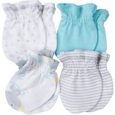 Gerber® Newborn 4-Pack Mittens in Aqua/Gray Stripe/Ducks