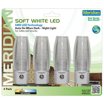 Mary Elle Fashions, Inc. Soft White Smd Led Auto On When Dark Night Light 4 Pack