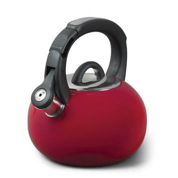 Supersonic Mr. Coffee Piper Shine 2qt Stainless Steel Tea Kettle- Red