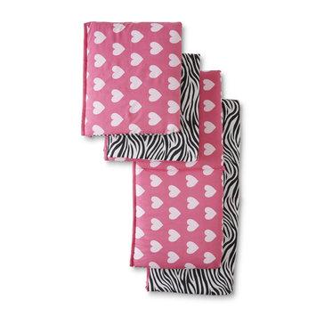 Rose Art Tender Kisses Wild at Heart 4-Piece Reversible Crib Bumper - Zebra & Hearts