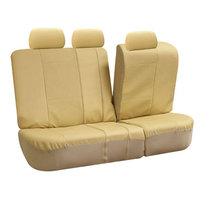 Premium Leatherette Car Seat Covers w. Floor Mats Solid Beige