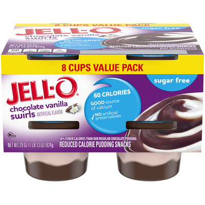 Jell-O Ready to Eat Sugar Free Chocolate Vanilla Swirl Pudding Snack