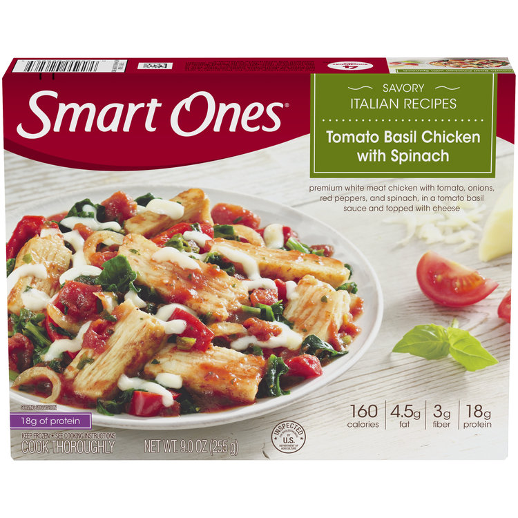 Smart Ones Savory Italian Recipes Tomato Basil Chicken with Spinach