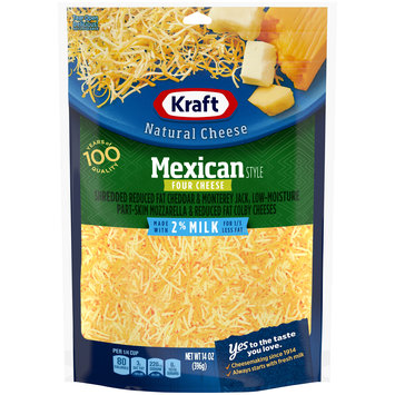 Kraft Mexican Style Shredded Natural Four Cheese with 2% Milk