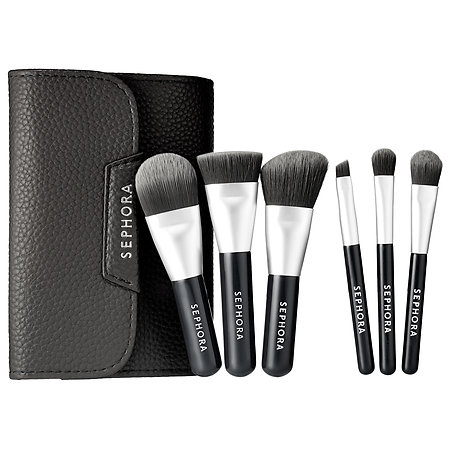 SEPHORA COLLECTION Mini Deluxe Charcoal Antibacterial Brush Set