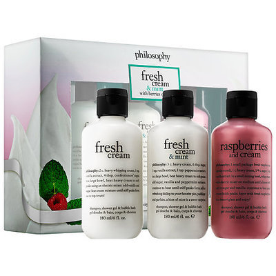 philosophy Fresh Cream & Mint with Berries on Top Shampoo, Shower Gel & Bubble Bath Trio 3 x 6.0 oz/ 180 mL