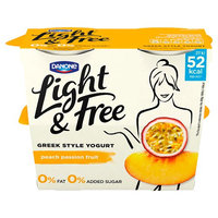 Light & Free Greek Style Peach Passionfruit Yogurt 4 x 115 (460g)