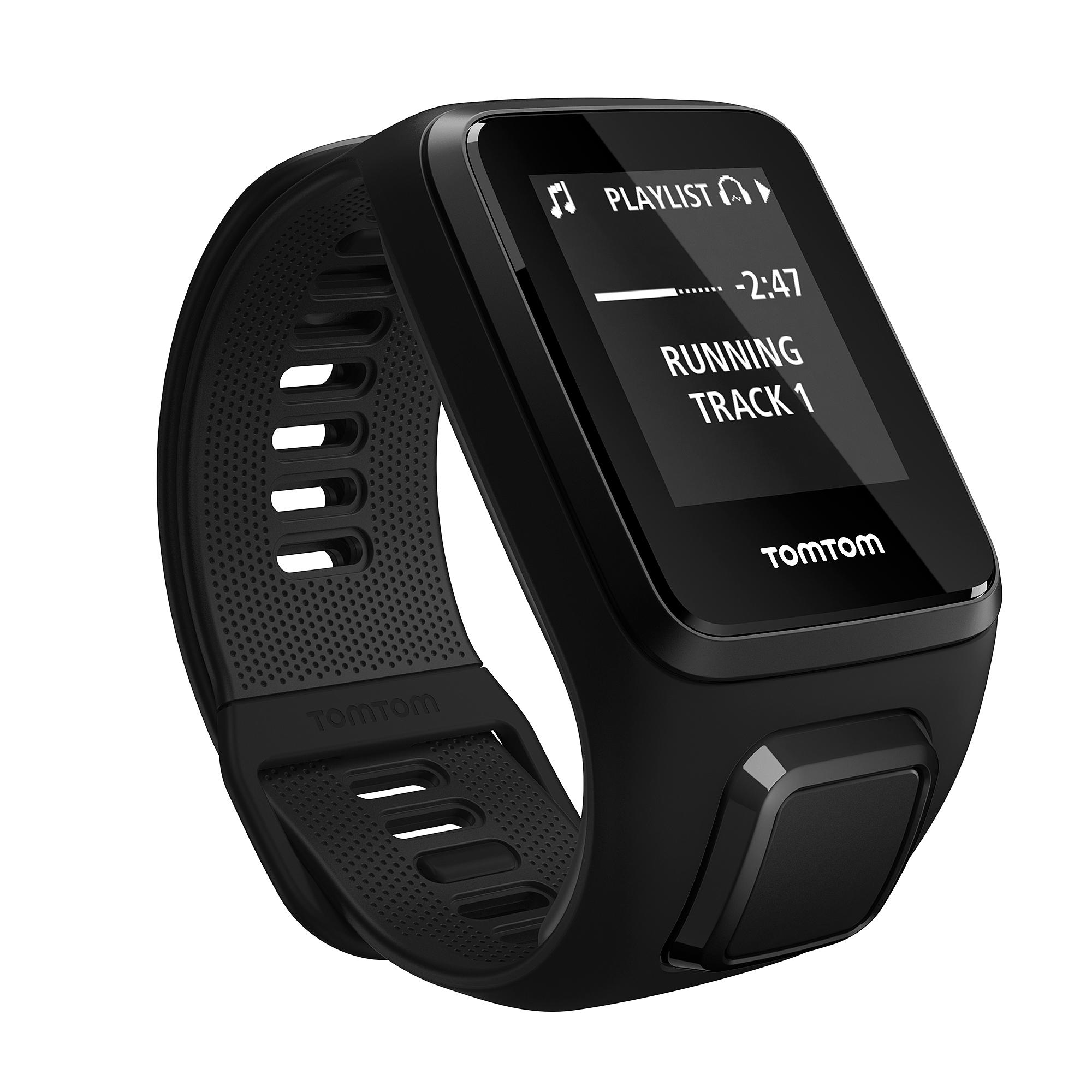TomTom Spark 3 Music Fitness Tracker (Black, Large) - Wrist - Accelerometer, Motion Sensor, Gyro Sensor, Digital Compass - Music Player - Sleep Quality, Steps Taken, Speed - 3GB - 144 x 168 - Bluetooth - GPS - 504 Hour - Black - Music, Swimming, Gym, Cyc