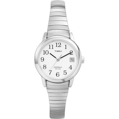 Timex Ladies Watch with White Dial and Stainless Steel Expansion Band