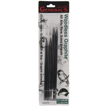 General Pencil Company General Pencil Woodless Graphite Pencils, Soft, Medium, Hard, 4/pkg