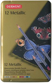 Reeves Derwent Metallic Pencil Tin, 12/Pkg