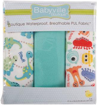 Drz Dritz Babyville Dinos & Monsters Waterproof Diaper Fabric, 3-Pack