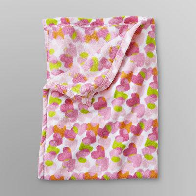 Baby Starters Infant Girl's Plush Blanket - Heart Print Pink