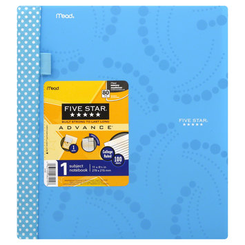 Mead Products Mead Five Star Advance 1 Subject Notebook, College Ruled, 100 Sheets, 1 notebook, Multi Color