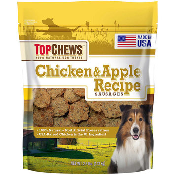 Top Chews Chicken & Apple Recipe Sausages, Natural Dog Treats