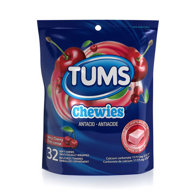 Tums Chewies Antacid Soft Chews, Very Cherry
