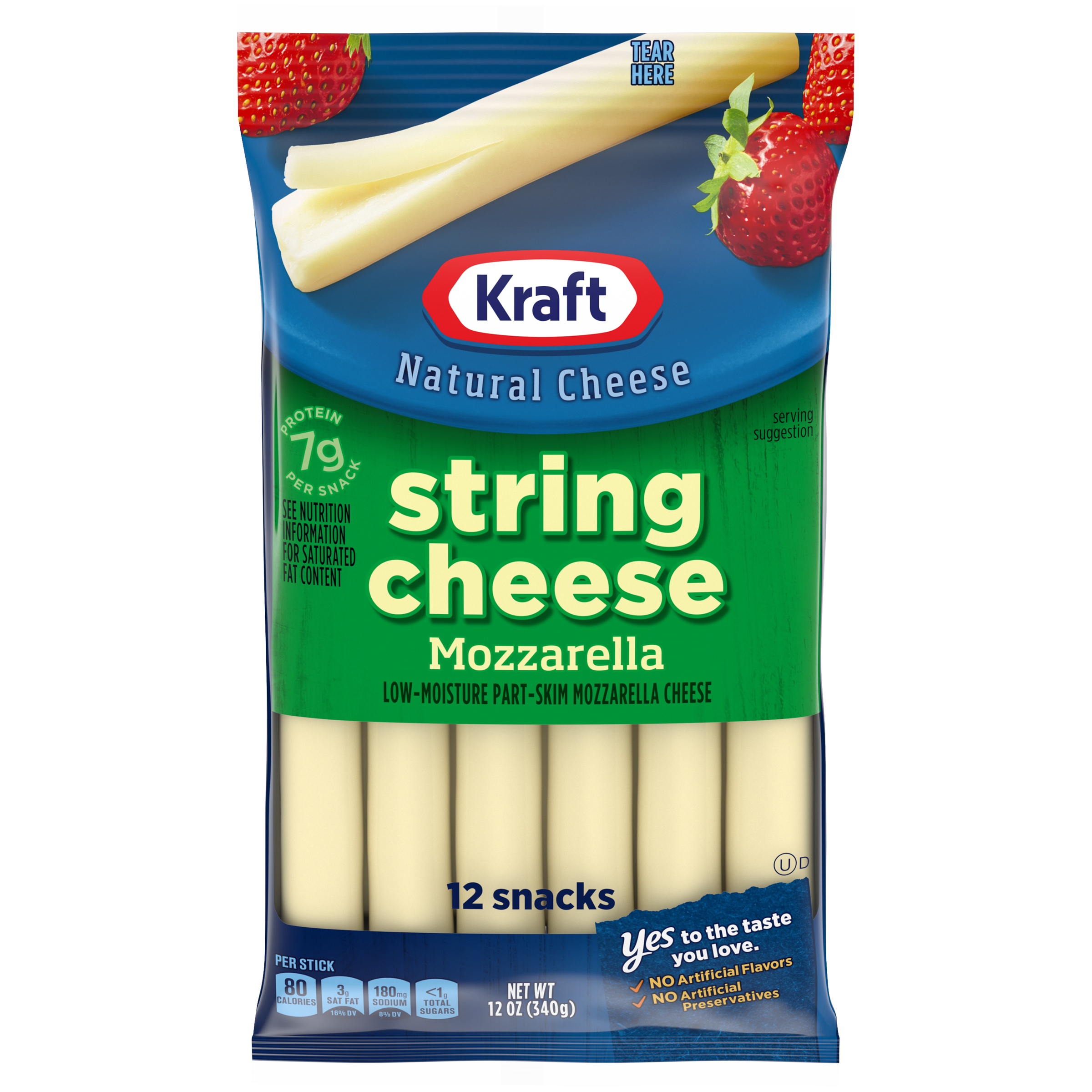 Kraft Low-Moisture Part-Skim Mozzarella String Cheese Sticks