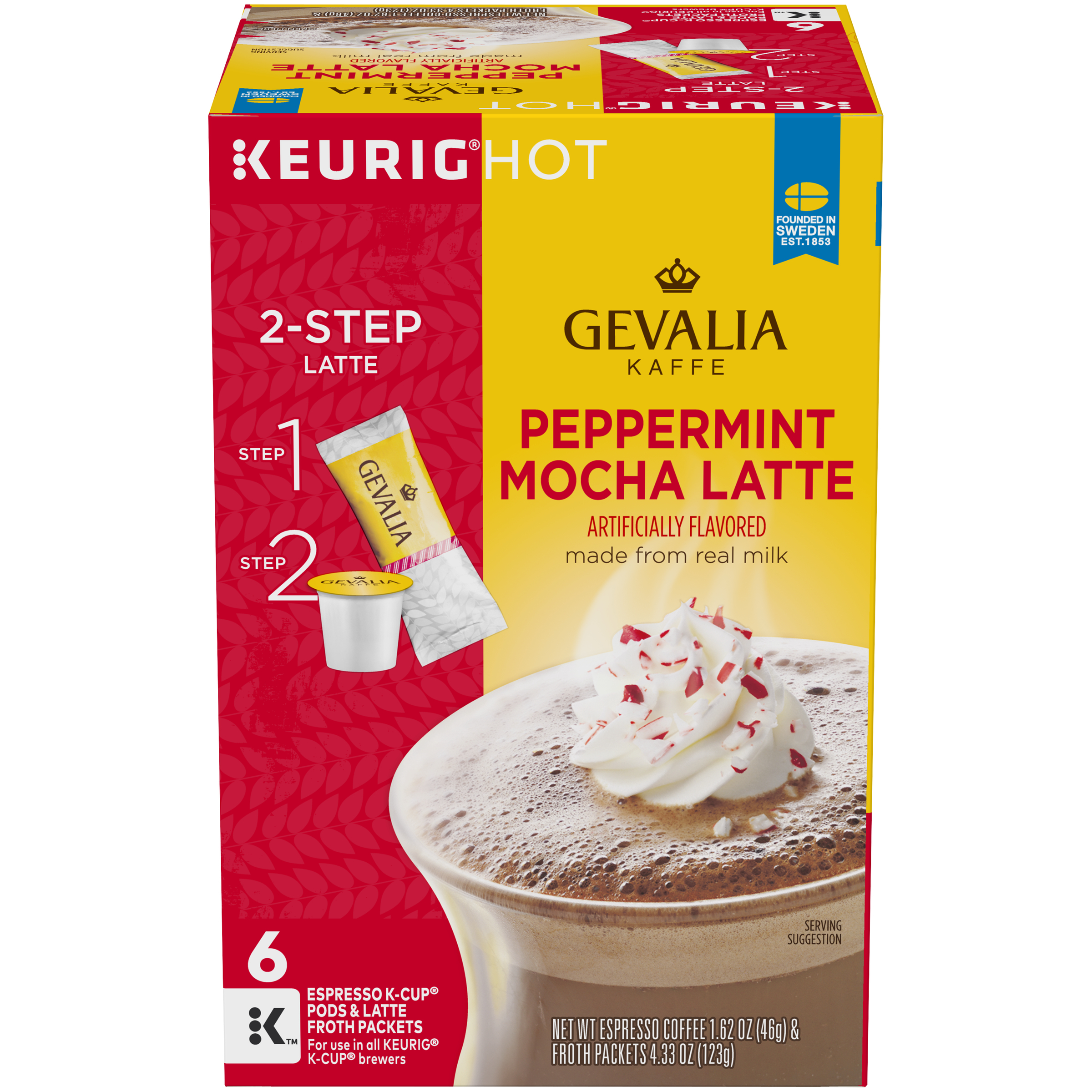 Gevalia Peppermint Mocha Latte Espresso K-Cup Packs & Froth Packets
