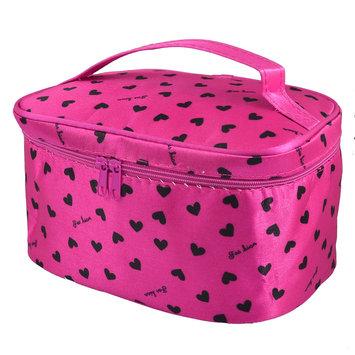 Unique Bargains Lady Heart Print Zipper Closure Fuchsia Travel Cosmetic Makeup Bag