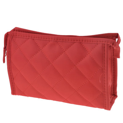 Unique Bargains Lady Red Stitching Rhombus Print Zippered Makeup Cosmetic Bag Holder