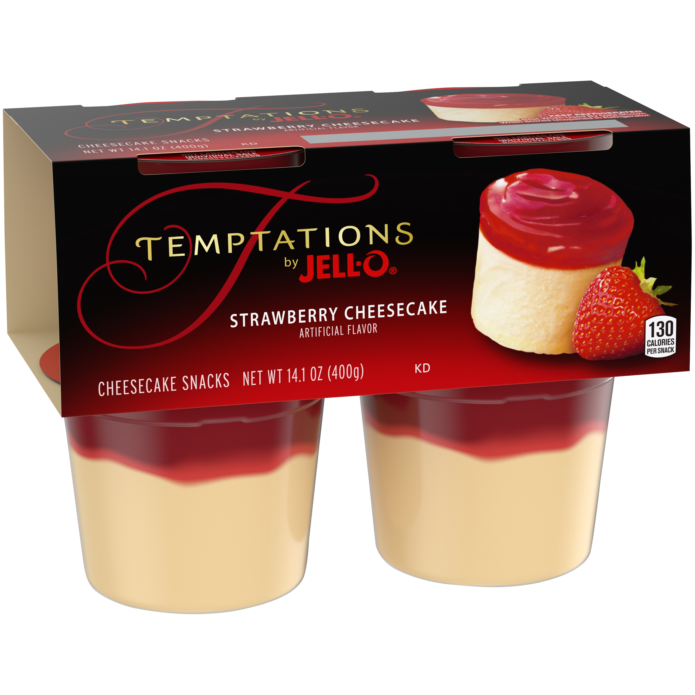 Jell-O Temptations Ready to Eat Strawberry Cheesecake Pudding Cups, 4 ct - 14.1 oz Package