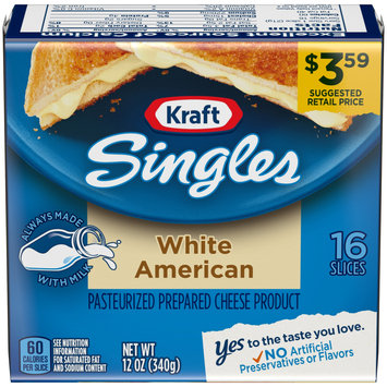 Kraft American White Processed Cheese Slices