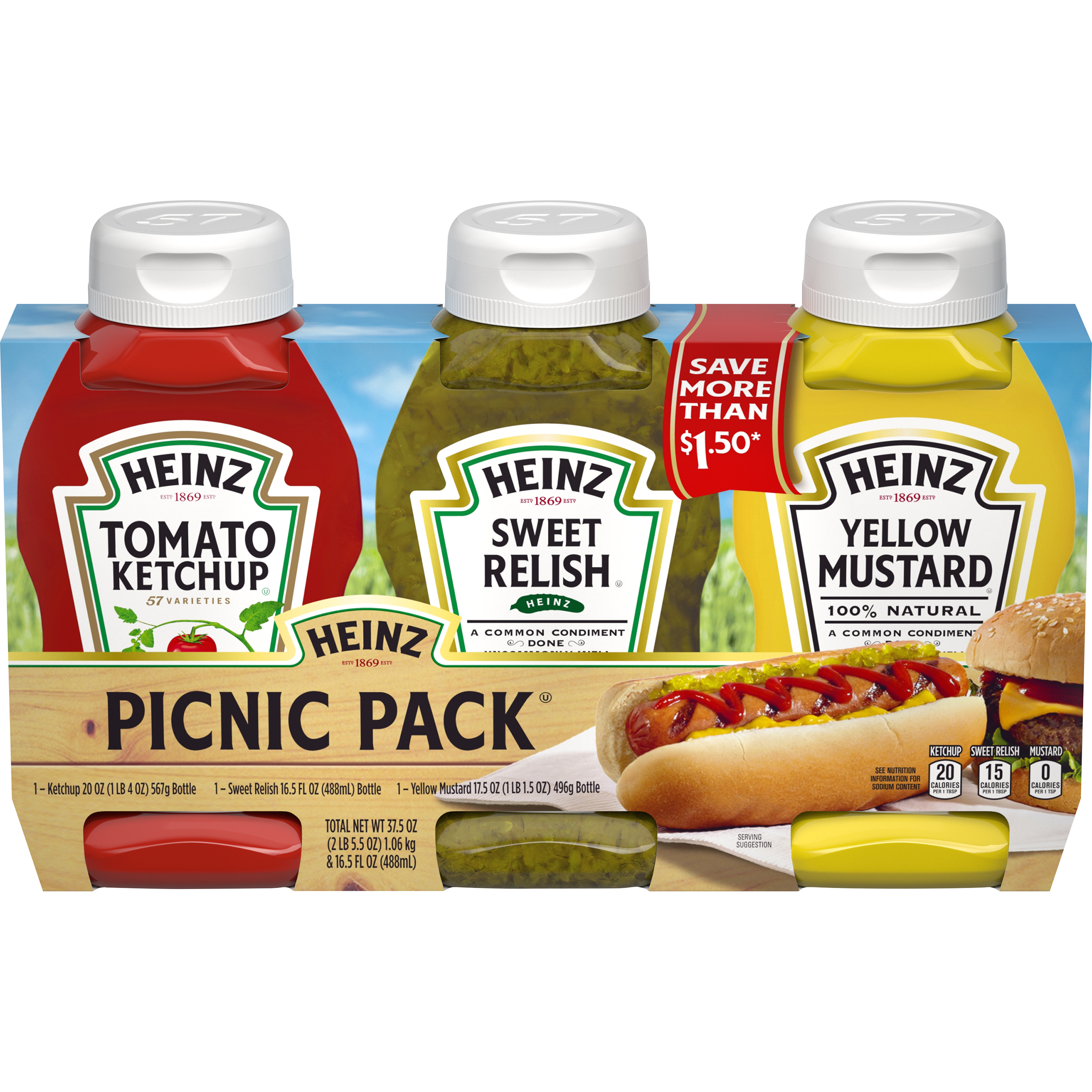 Heinz Ketchup, Sweet Relish & Yellow Mustard Variety Pack