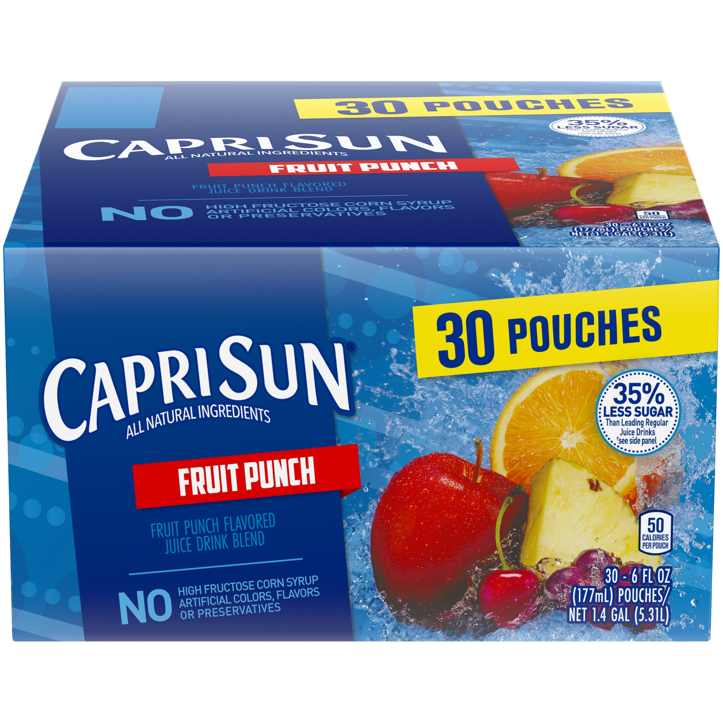 Capri Sun 25% Less Sugar Tropical Punch Flavored Juice Pouches