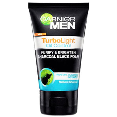 Garnier Men TurboLight Oil Control Purify & Brighten Charcoal Black Foam