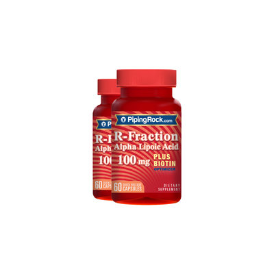 Piping Rock R-Fraction Alpha Lipoic Acid 100 mg plus Biotin Optimizer 2 Bottles x 60 Capsules