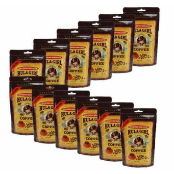 Box of 12 - Hula Girl 100% Hawaiian Freeze Dried Instant Kona Coffee 50Gram bags