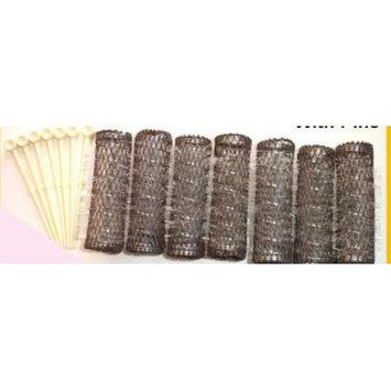 2 Packs (14 total) MEDIUM BRUSH ROLLERS & PINS Hair Curlers Bristles 2 1/2