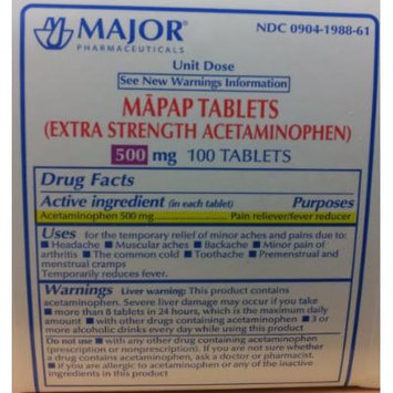 Mapap Acetaminophen Extra Strength 500mg Tablets - 10 x 10 Unit Dose, 100 Tablets Total
